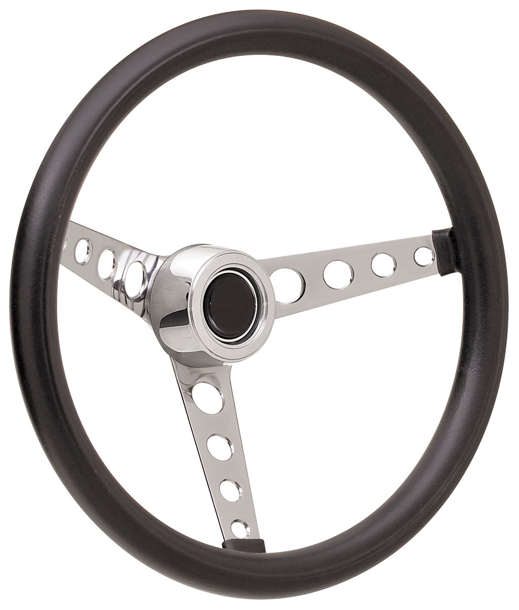 Photo of Steering Wheel Kits, Classic Foam Hi-Rise Cap - Polished with black center, early mount
