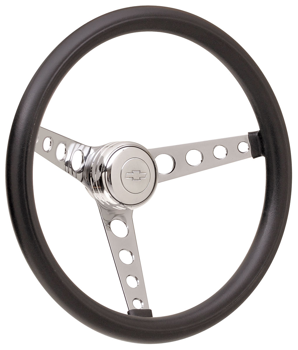 Photo of Steering Wheel Kits, Classic Foam Tall Cap - Polished with engraved Bowtie center