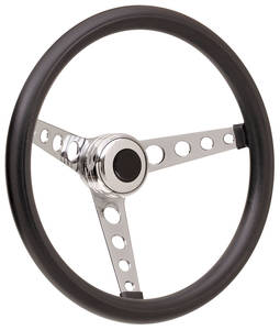 1969-77 Bonneville Steering Wheel Kits, Classic Foam Tall Cap - Polished with Black Center, Late Mount