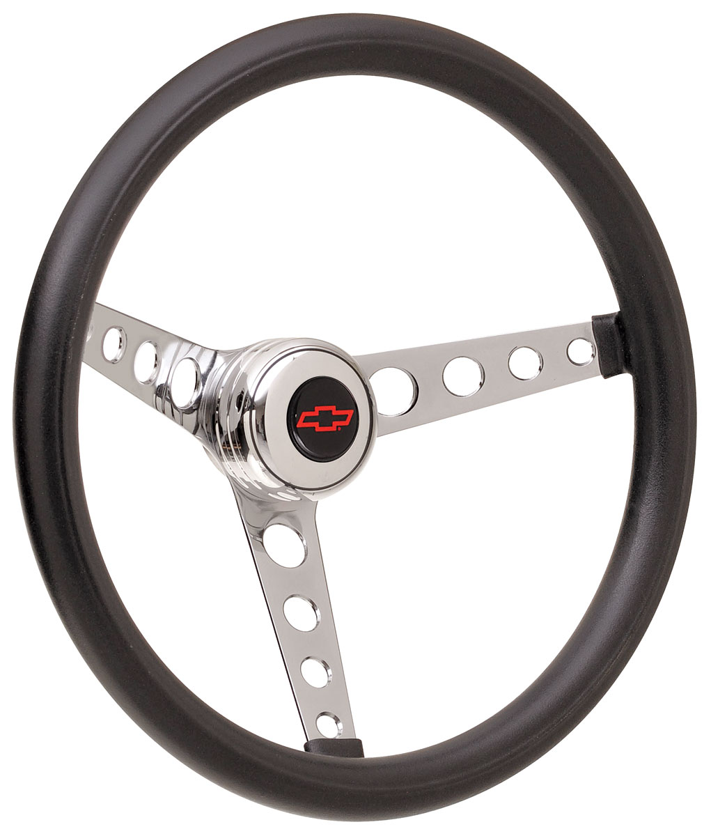Photo of Steering Wheel Kits, Classic Foam Tall Cap - Polished with red Bowtie center