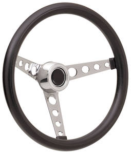 1969-77 Bonneville Steering Wheel Kits, Classic Foam Hi-Rise Cap - Polished with Black Center, Late Mount