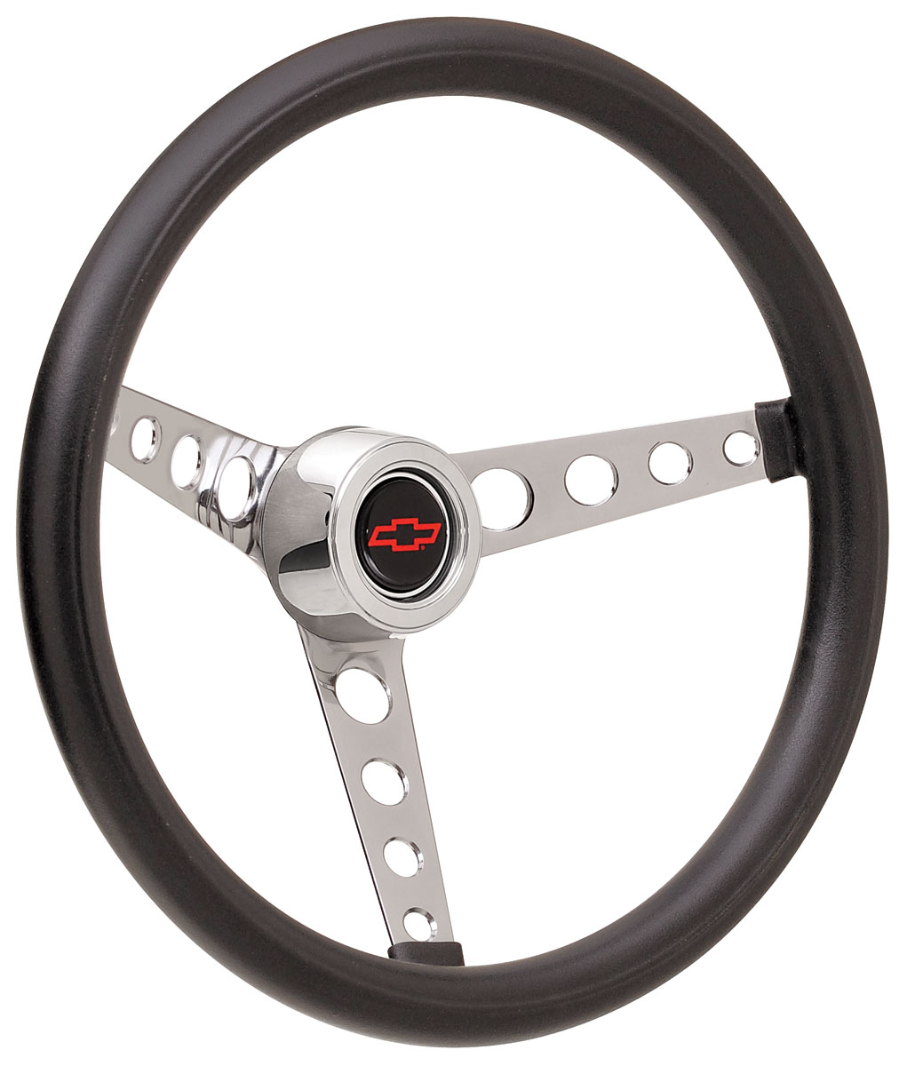 Photo of Steering Wheel Kits, Classic Foam Hi-Rise Cap - Polished with red Bowtie center