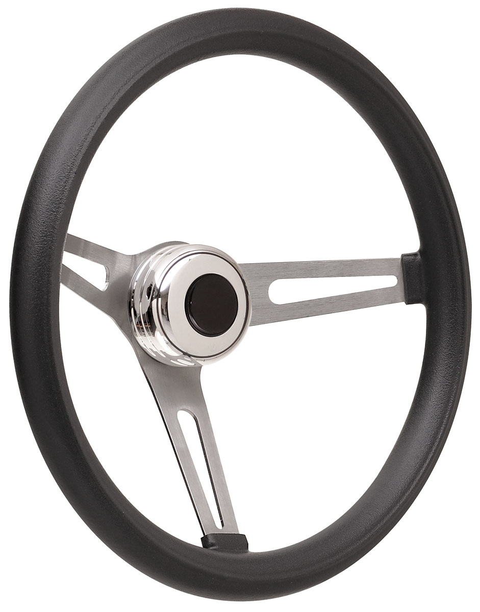Photo of Bonneville Steering Wheel Kits, Retro Foam Tall Cap - Polished with black center, early mount