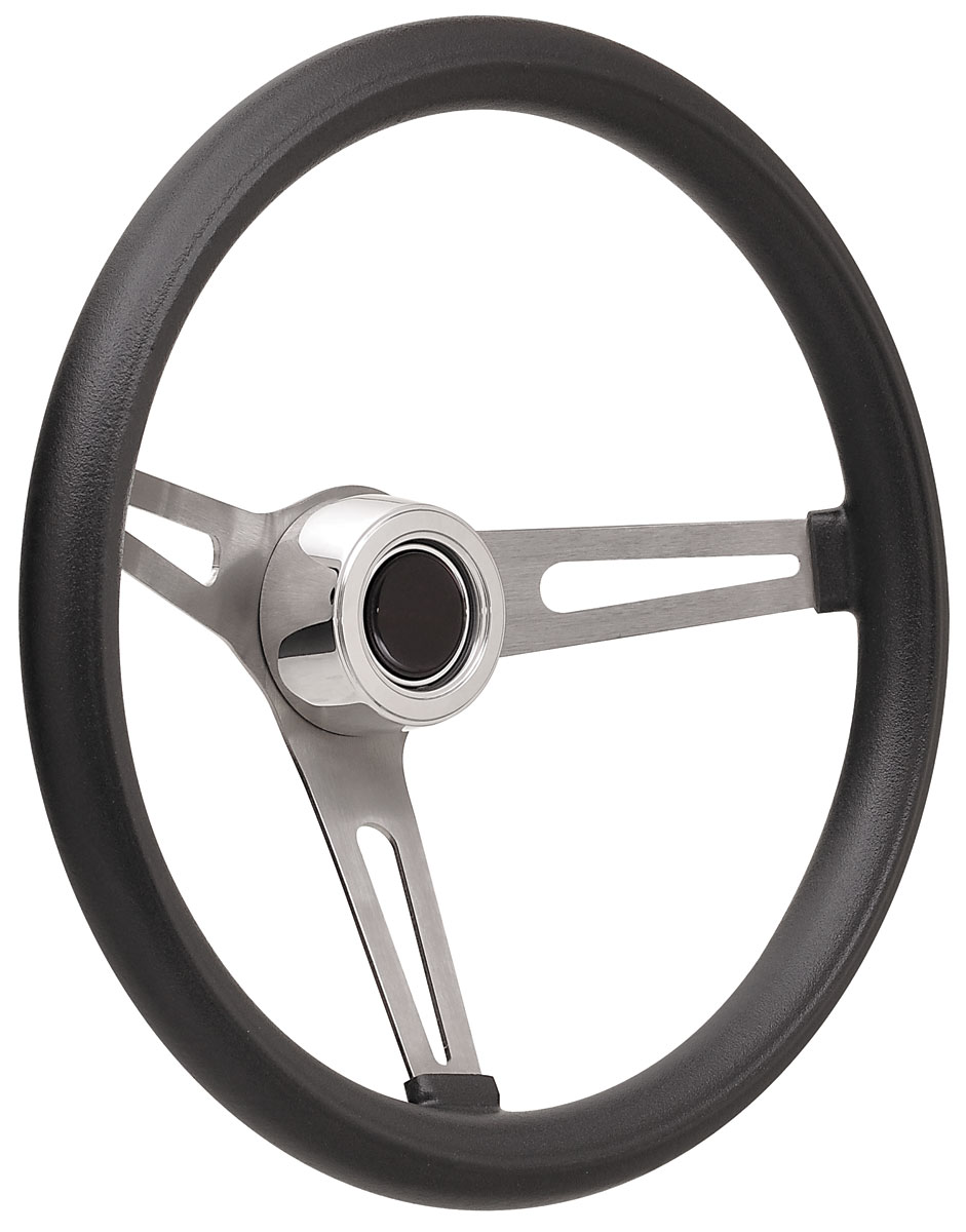Photo of Steering Wheel Kits, Retro Foam Hi-Rise Cap - Polished with black center, early mount