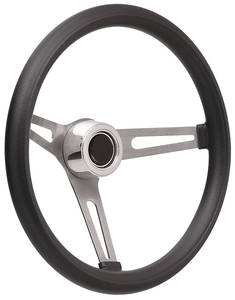 1959-63 Bonneville Steering Wheel Kits, Retro Foam Hi-Rise Cap - Polished with Black Center, Early Mount