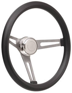 1969-77 Bonneville Steering Wheel Kits, Retro Foam Tall Cap - Polished with Polished Center, Late Mount