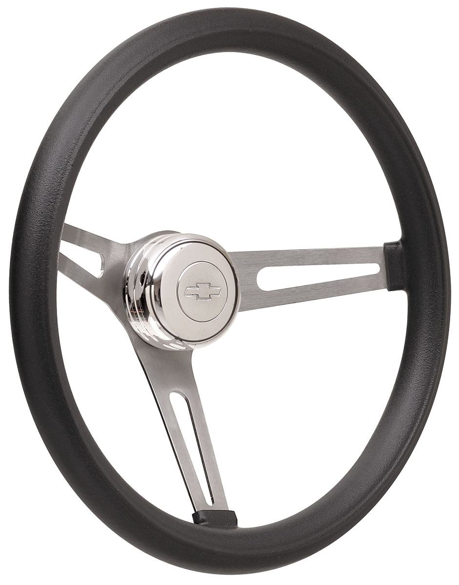 Photo of Steering Wheel Kits, Retro Foam Tall Cap - Polished with engraved Bowtie center