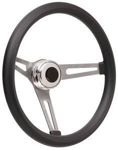 1969-77 Bonneville Steering Wheel Kits, Retro Foam Tall Cap - Polished with Black Center, Late Mount