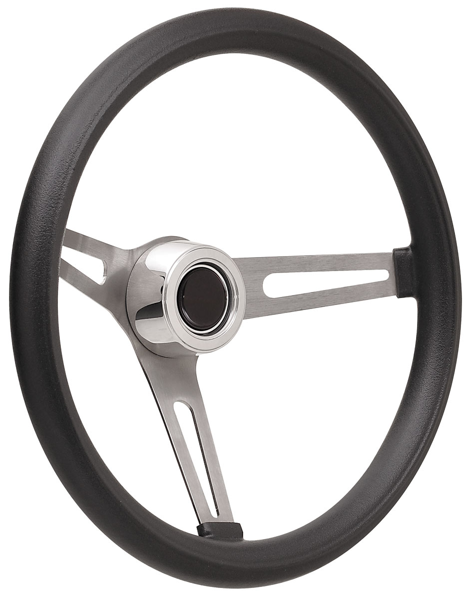 Photo of Steering Wheel Kits, Retro Foam Hi-Rise Cap - Polished with black center, late mount