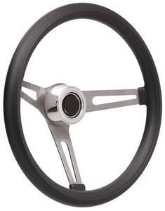 1969-77 Bonneville Steering Wheel Kits, Retro Foam Hi-Rise Cap - Polished with Black Center, Late Mount