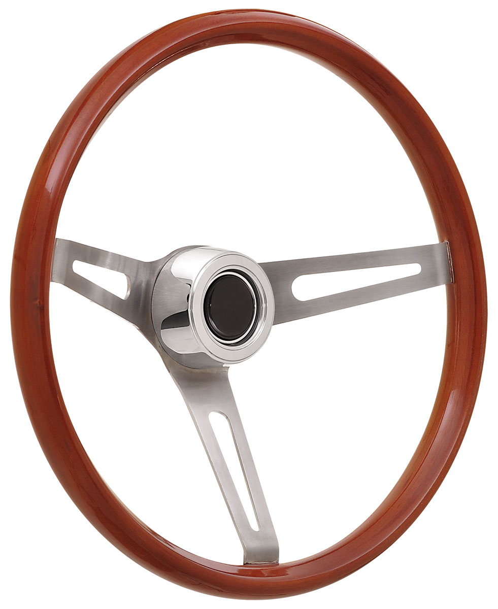 Photo of Steering Wheel Kits, Retro Wood Hi-Rise Cap - Polished with black center, early mount