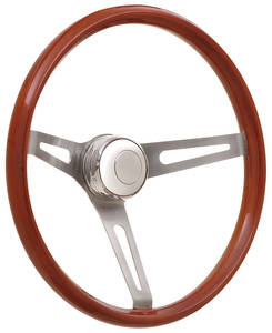 1969-77 Bonneville Steering Wheel Kits, Retro Wood Tall Cap - Polished with Polished Center, Late Mount