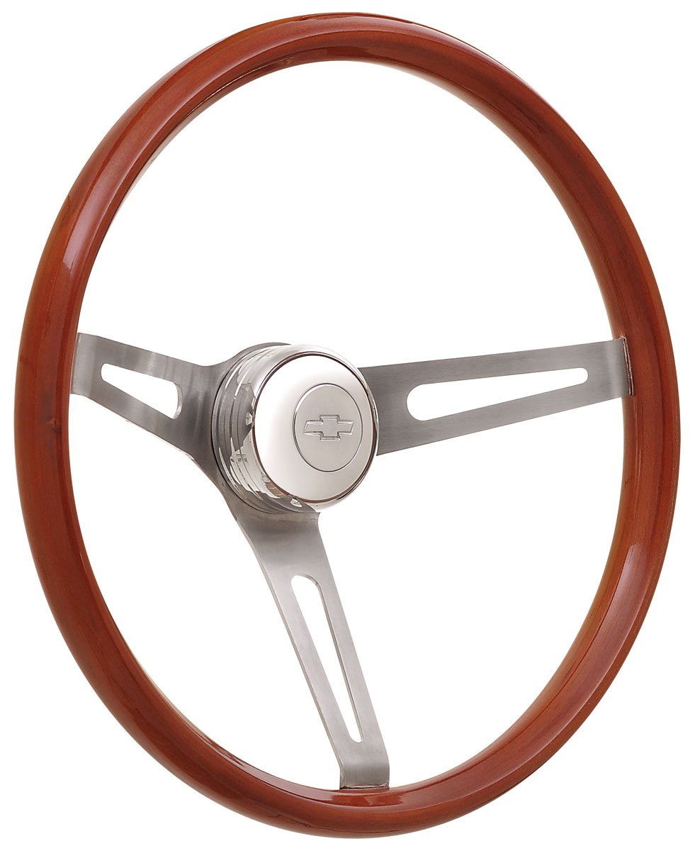 Photo of Steering Wheel Kits, Retro Wood Tall Cap - Polished with engraved Bowtie center
