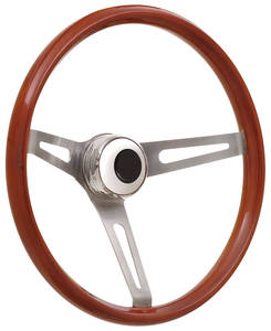 1969-1977 Bonneville Steering Wheel Kits, Retro Wood Tall Cap - Polished with Black Center, Late Mount