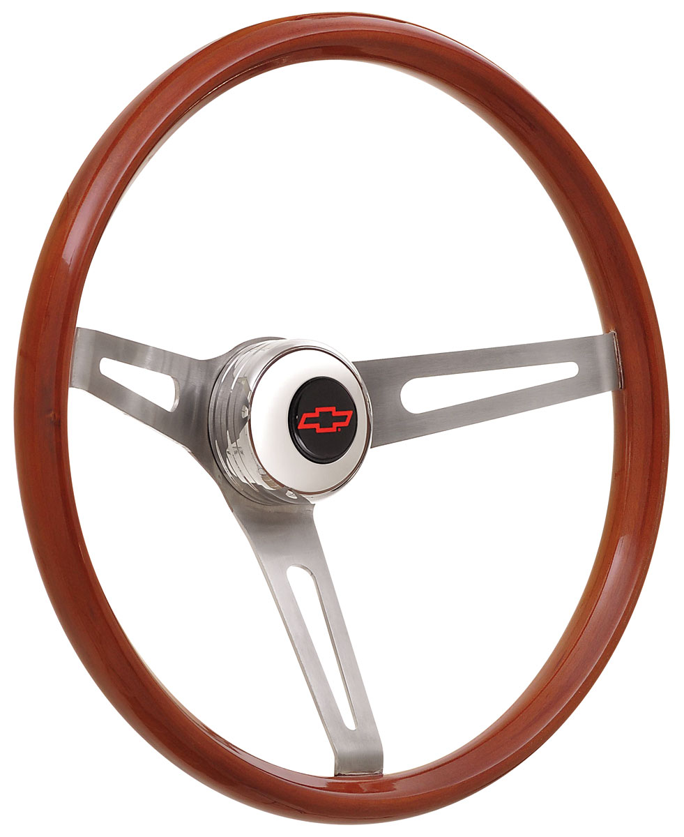 Photo of Steering Wheel Kits, Retro Wood Tall Cap - Polished with red Bowtie center