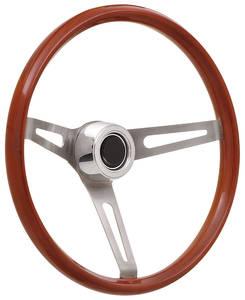 1969-77 Bonneville Steering Wheel Kits, Retro Wood Hi-Rise Cap - Polished with Black Center, Late Mount