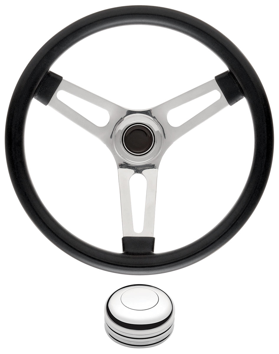 "Photo of Bonneville Steering Wheel Kits, Symmetrical Style Tall Cap - Polished Early 1-1/2"" dish with polished center"