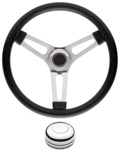 "1959-63 Bonneville Steering Wheel Kits, Symmetrical Style Tall Cap - Polished Early 1-1/2"" Dish with Polished Center"