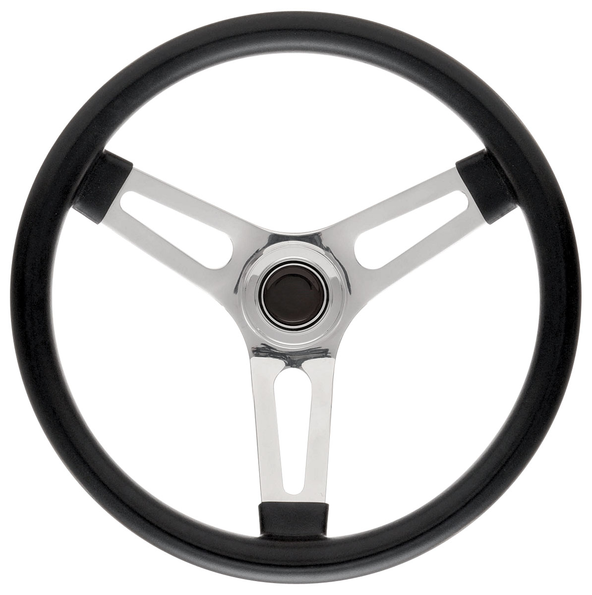 """Photo of Steering Wheel Kits, Symmetrical Style Tall Cap - Polished Early 1-1/2"""" dish with black center"""
