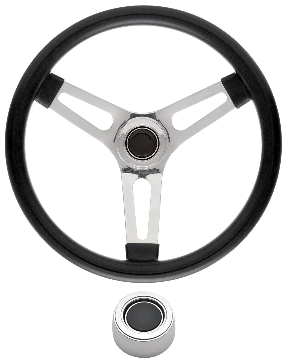 "Photo of Steering Wheel Kits, Symmetrical Style Hi-Rise Cap - Polished Early 1-1/2"" dish with black center"