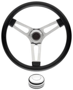 "1969-77 Bonneville Steering Wheel Kits, Symmetrical Style Tall Cap - Polished Late 1-1/2"" Dish with Polished Center"
