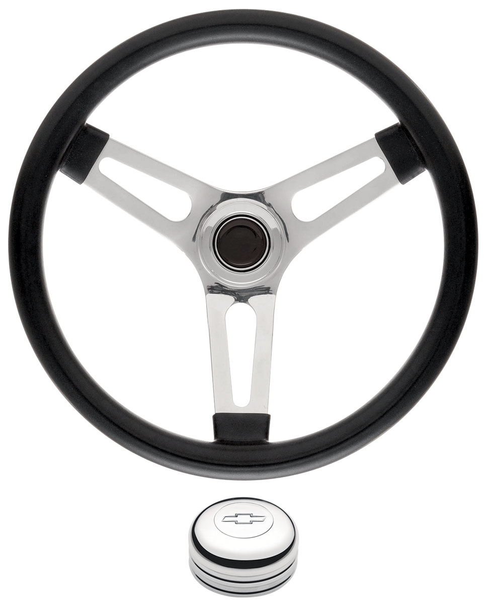 """Photo of Steering Wheel Kits, Symmetrical Style Tall Cap - Polished 1-1/2"""" dish with engraved Bowtie center"""