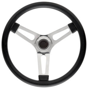 """1969-77 Bonneville Steering Wheel Kits, Symmetrical Style Tall Cap - Polished Late 1-1/2"""" Dish with Black Center"""