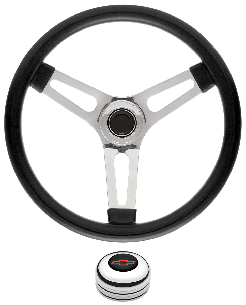 "Photo of Steering Wheel Kits, Symmetrical Style Tall Cap - Polished 1-1/2"" dish with red Bowtie center"