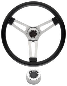 "1969-77 Bonneville Steering Wheel Kits, Symmetrical Style Hi-Rise Cap - Polished Late 1-1/2"" Dish with Black Center"