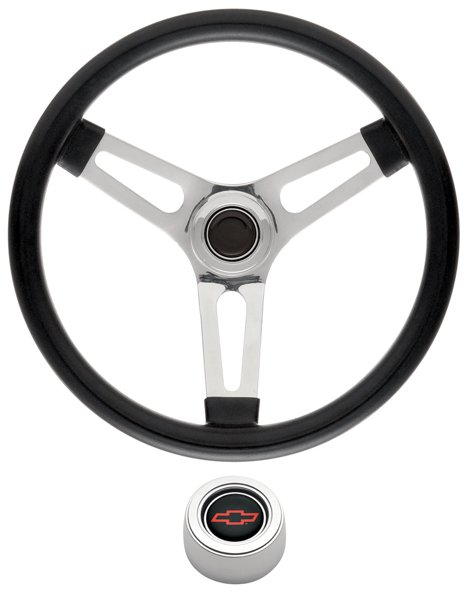 "Photo of Steering Wheel Kits, Symmetrical Style Hi-Rise Cap - Polished 1-1/2"" dish with red Bowtie center"