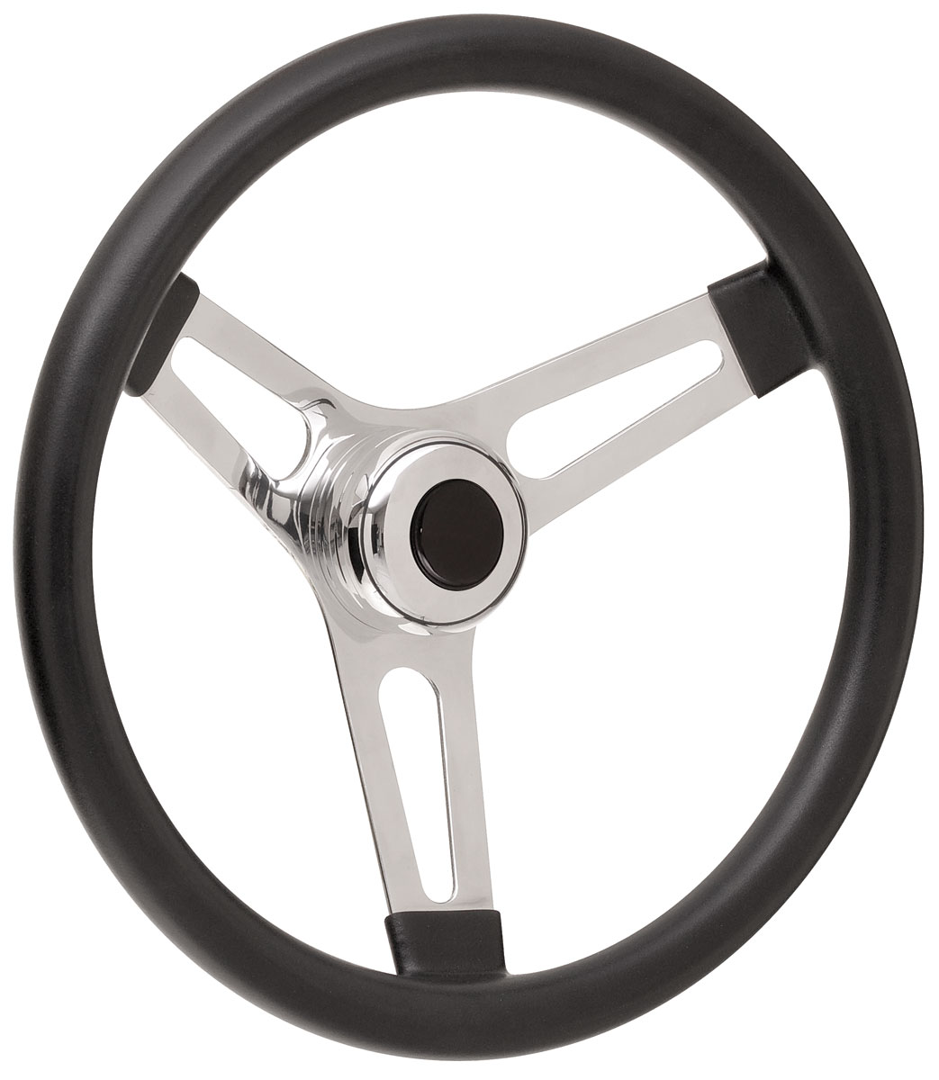 "Photo of Bonneville Steering Wheel Kits, Symmetrical Style Tall Cap - Polished Early 3-1/4"" dish with black center"