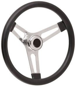 """1967-1968 Bonneville Steering Wheel Kits, Symmetrical Style Tall Cap - Polished Early 3-1/4"""" Dish with Black Center"""