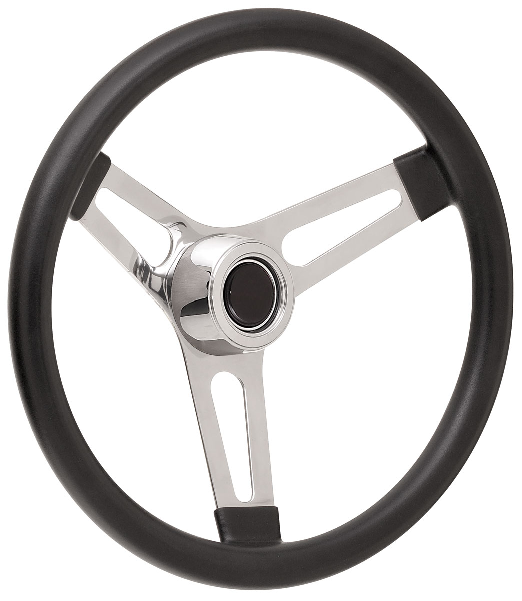 "Photo of Steering Wheel Kits, Symmetrical Style Hi-Rise Cap - Polished Early 3-1/4"" dish with black center"