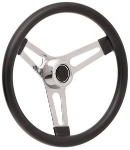 "1959-63 Bonneville Steering Wheel Kits, Symmetrical Style Hi-Rise Cap - Polished Early 3-1/4"" Dish with Black Center"