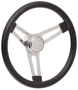 """1969-77 Bonneville Steering Wheel Kits, Symmetrical Style Tall Cap - Polished Late 3-1/4"""" Dish with Polished Center"""