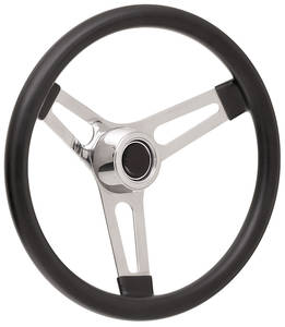 "1969-77 Bonneville Steering Wheel Kits, Symmetrical Style Hi-Rise Cap - Polished Late 3-1/4"" Dish with Black Center"