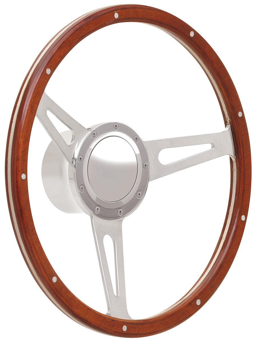 Photo of Steering Wheel Kits, Retro Cobra Wood Small Cap - Polished with polished center