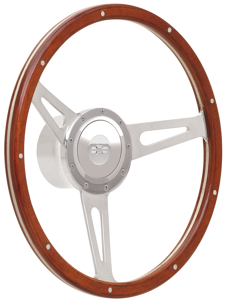 Photo of Steering Wheel Kits, Retro Cobra Wood Small Cap - Polished with engraved Bowtie center