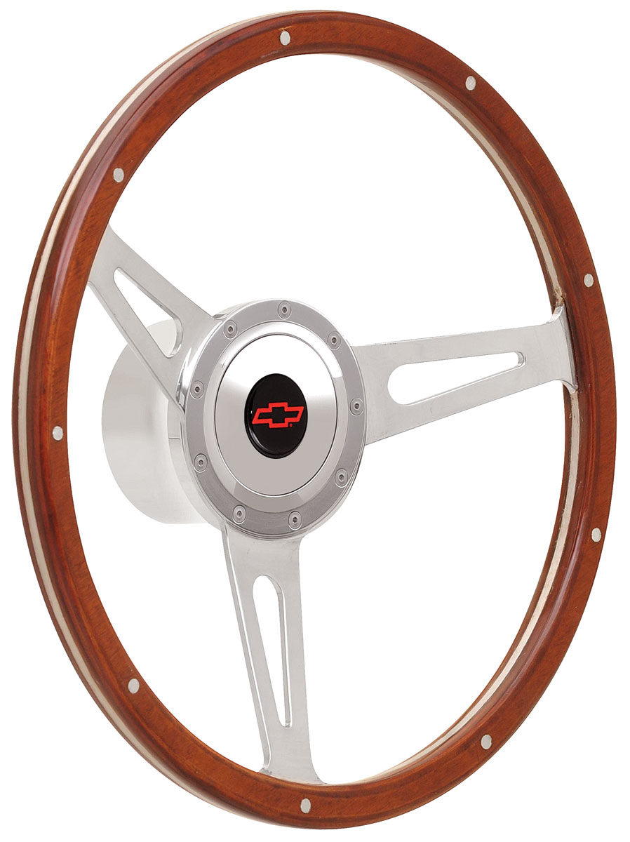Photo of Steering Wheel Kits, Retro Cobra Wood Small Cap - Polished with red Bowtie center