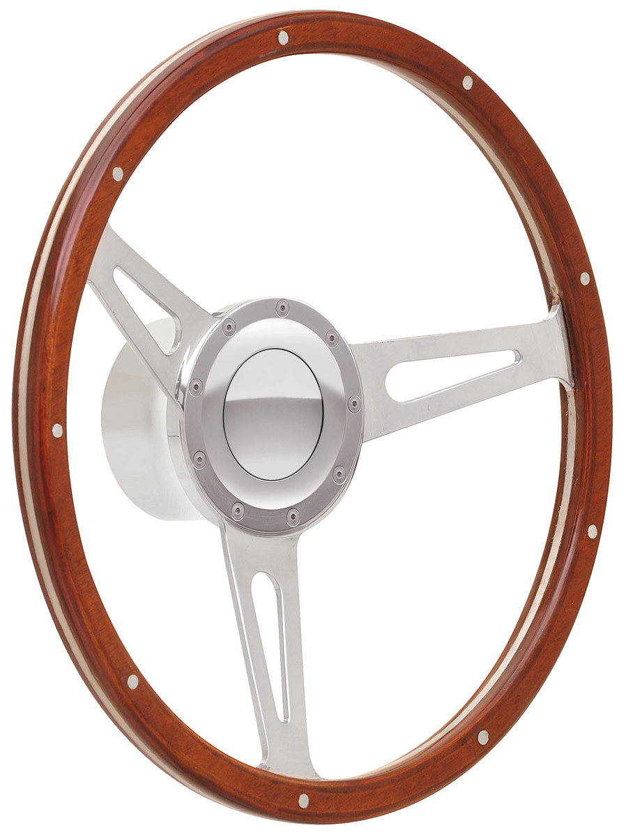 Photo of Steering Wheel Kits, Retro Cobra Wood Large Cap - Polished with polished center