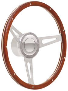 1969-77 Bonneville Steering Wheel Kits, Retro Cobra Wood with Large Cap, Late Mount