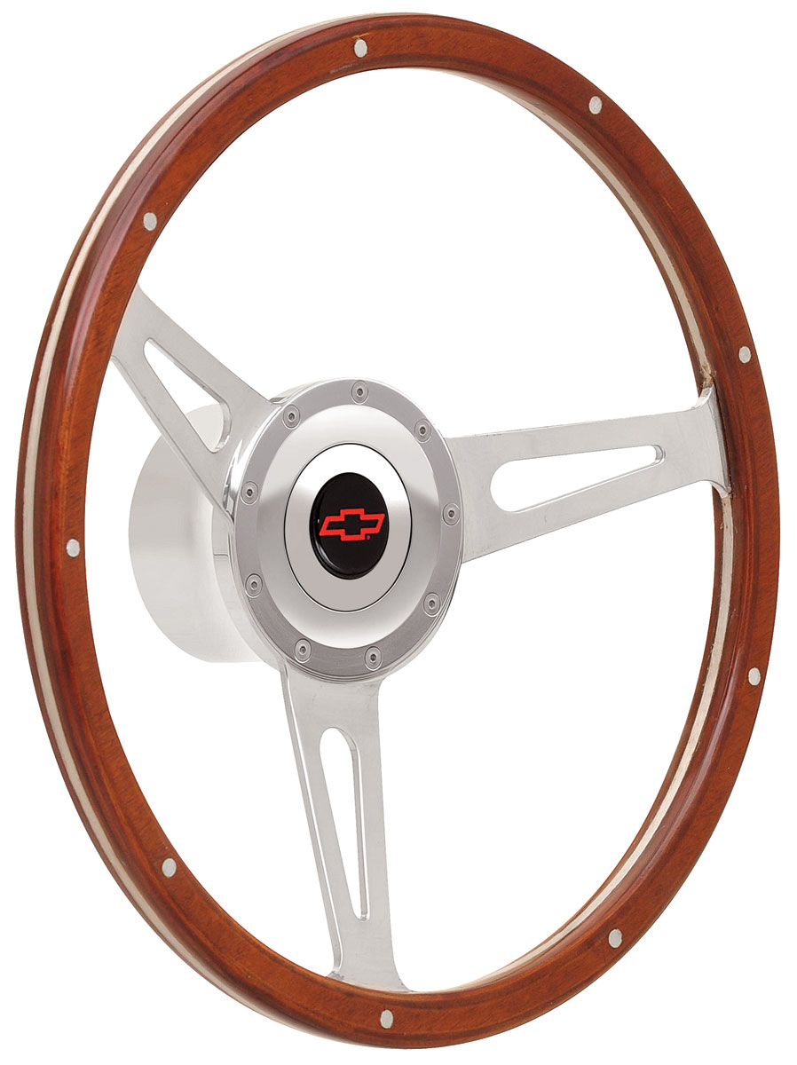 Photo of Steering Wheel Kits, Retro Cobra Wood Large Cap - Polished with red Bowtie center