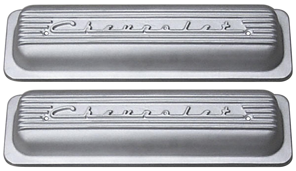 Photo of Valve Covers, Cast Aluminum Chevrolet Small-Block, Center Bolt, Raised Chevrolet Script tall