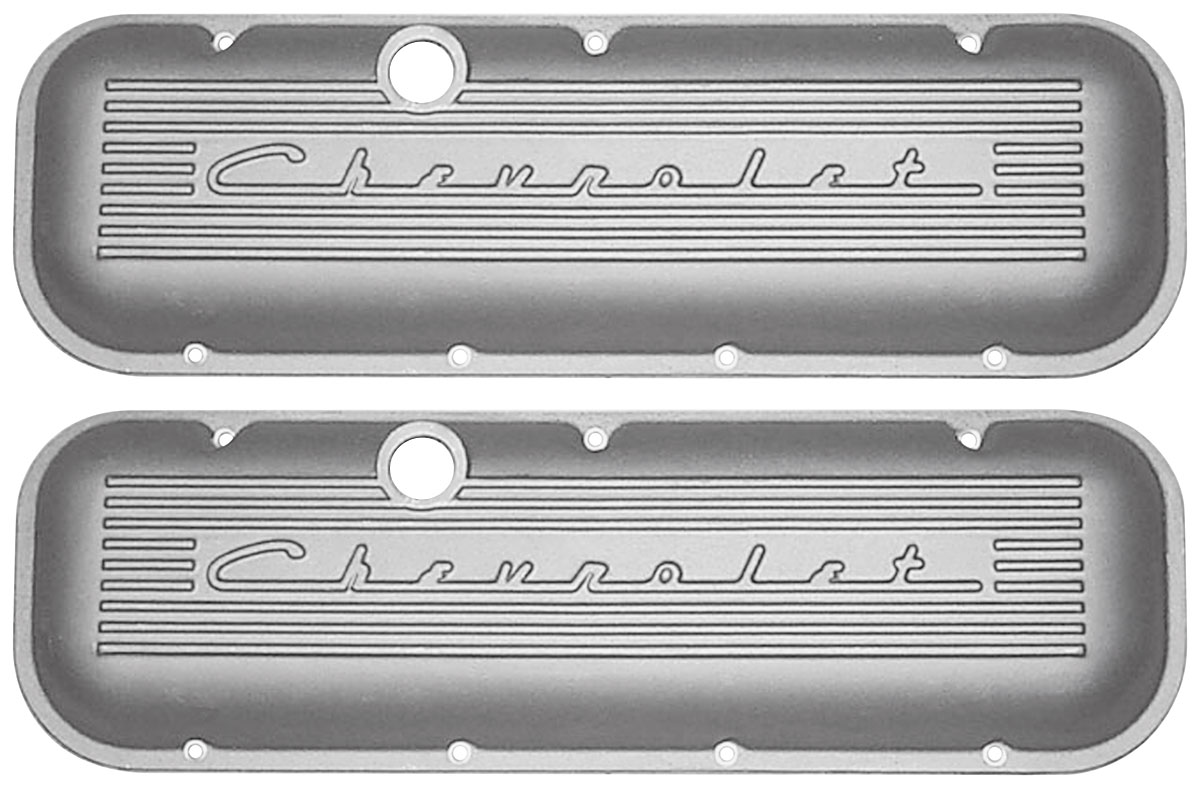 Photo of Valve Covers, Cast Aluminum Chevrolet Big-Block, Raised Chevrolet Script With Fins, Pcv Holes, Breather And Dipper standard