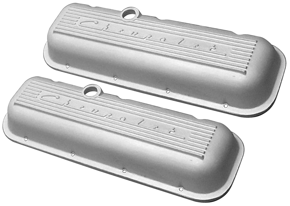 Photo of Valve Covers, Cast Aluminum Chevrolet Big-Block, Raised Chevrolet Script, Pcv Holes, Breather And Dipper tall, w/fins