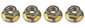 """1970-73 LeMans Hardware, Side Glass Door Track To Window Nut Stop Nuts, 1/4""""-20 X 5/8"""" (Smooth Washer, 4-Piece)"""