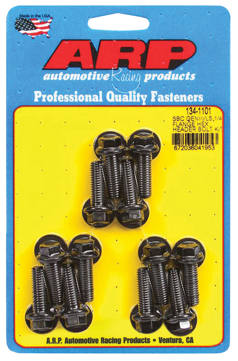 "Photo of Header Bolts, Race Quality LS 1/4"" flange, hex head, black oxide"