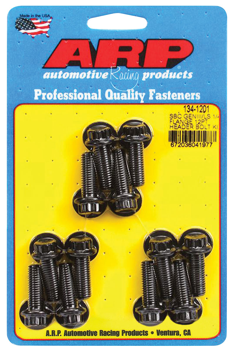 """Photo of Header Bolts, Race Quality Ls 1/4"""" flange, 12-point head, black oxide"""