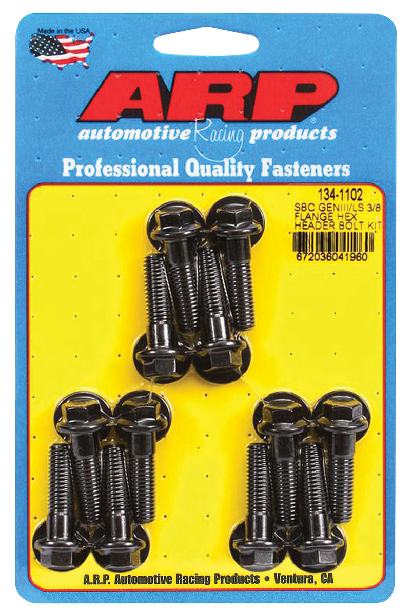 """Photo of Header Bolts, Race Quality LS Black 3/8"""" flange, hex head"""