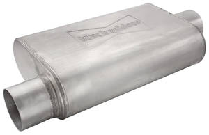 """1938-93 60 Special Muffler, Black Widow Performance Venom 250 Series (14"""" X 9"""" X 4"""") 2.5"""", Driver Side IN/Center OUT"""